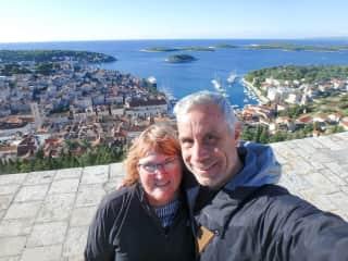 Laureen and Ken hiking in Hvar, Croatia