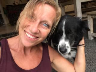 Me and lovely Georgie, one of five rescue dogs on a dog sit in Bali, I felt immediately in love with.
