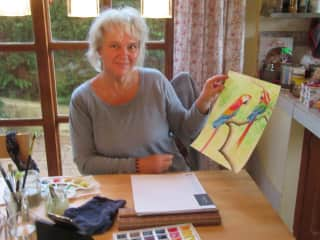 Sylvie and her watercolor painting