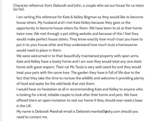 A review of us by a former (and also future) house sitter who has taken care of our home and pet.