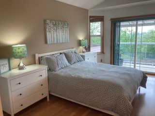 The guest room has a beautiful view of the Valley and a sliver view of Lake Washington