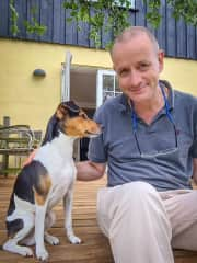Carsten with speedy Danny, on our first trustedhousesit