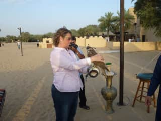Ronette at falconry, UAE