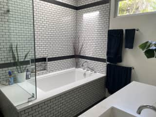 Master bath (dual sinks and walk-in shower to left of tub, not pictured)