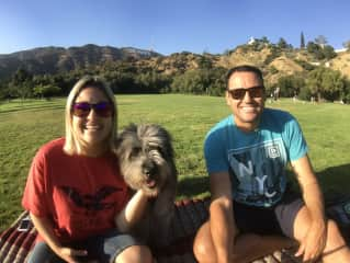 With Lenna at the Lake Hollywood Dog Park in Los Angeles (Jul/2017)