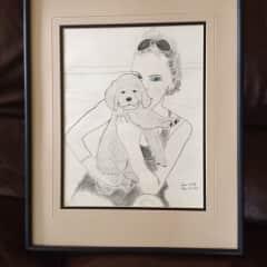 Bev's Art - Golden Retriever Puppy with Owner