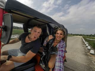 We have loved travelling the past year! Here we are driving a tuk tuk in Sri Lanka.