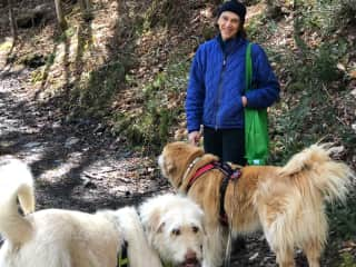 Janet, YoYo and Tashi on a beautiful walk in the woods.
