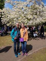 Karen and Christophe under the cherry tree