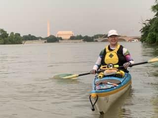 Kayaking in Washington, D.C. at sunset.