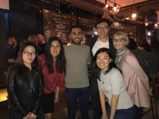 Denise with students in Hong Kong