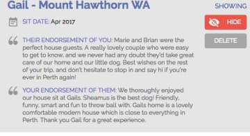 This is an endorsement from the Australian house sit website we are members of