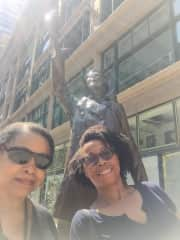 My mom and me in front of the Mary Tyler Moore statue in Minneapolis, Minnesota
