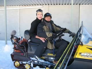 Tuey and me on a skiing shoot in New Zealand