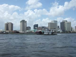 Crossing the Mississippi River by ferry