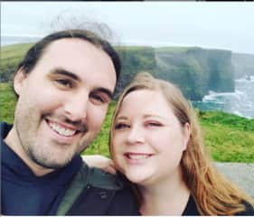 Michael and Cassandra at the Cliffs of Moher, Ireland, fall 2018