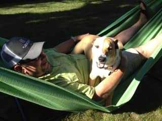 Rich and our dog, Mitzy