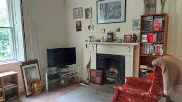 Also the living room.  We have some DVDs if you fancy a film.  The curtains and pictures will be back up by September.  We've recently had internal insulation fitted so just putting everything back together.