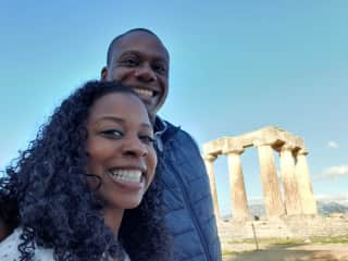Enjoying the sites in Ancient Corinth, Greece