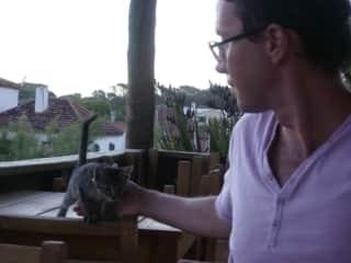 Kitten and Michal in Uruguay.
