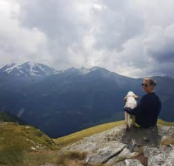 This is me and Harriet, taking a rest from hiking in Verbier