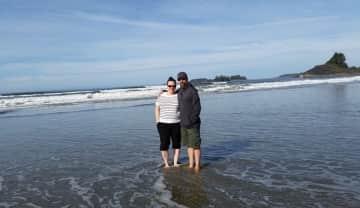 Enjoying the surf at Tofino