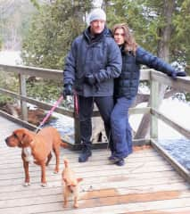 Hiking Sauble Falls, Ontario with Stella and Binky