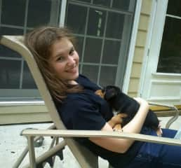 My daughter & one of our 1st of approx. 50 foster puppies
