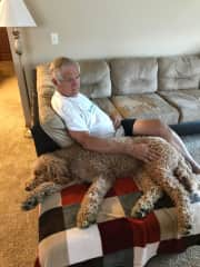 David with sleepy-time Scout, a golden doodle