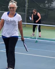 Me in the foreground playing pickleball