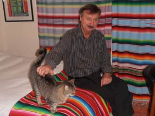 Will and Giva in colorful Mexico.  She would suddenly appear in our bedroom each time we returned.