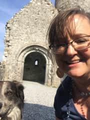 My friend Grouse and I at Clonmacnoise in Ireland