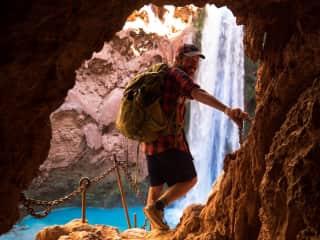 mooney falls in the havasupai tribal land