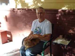 Mike with sweet Prana at one of our house/pet sits.
