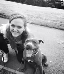 Me and our family pet dog Bella, a beautiful staffie who we love so much!