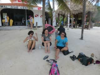 Beaching in Mexico with my sister, myself and daughter's mother-in-law
