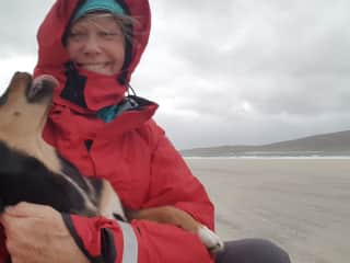 I found him (or should I say he found me) lolloping along the beach, all flowing wind-blown ears, slobbery kisses and bounding enthusiasm, loving the sand-blasting bleak drizzle as much as I was. Outer Hebrides, 2018