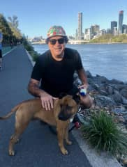 Ronnie enjoying his riverfront walk in Brisbane, Queensland, Australia
