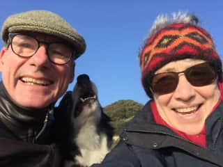 My husband, me and Ben, the boarder collie
