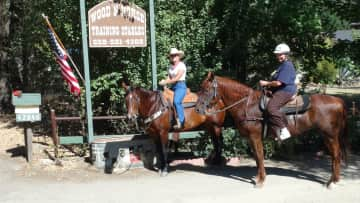 Nancy on horse ride with world famous horse trainer Christy Wood in Three Rivers CA