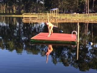 Greg's morning yoga session at Lake Waldena, Florida