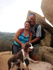 Mocha on hike with Tom and Gerianne