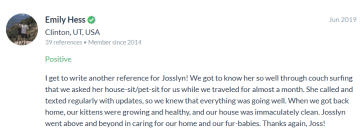Review from my House Sitting on Couchsurfing