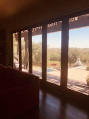 Warm and inviting views from living room with a Lanai style door that opens the whole room up to the outside