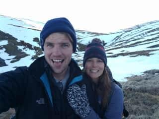 Mike and Lauren climbing Mt. Kosciuszko