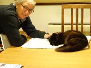 Sally and friendly semi feral cat, Fluffy