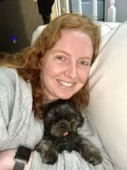 Elina and her foster, Milo at home in NJ