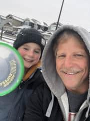 Winter fresbee with my Grandson