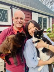 My parents, David and Mei Fong, at our house in NJ. Cats: Gazelle (black) and Zeppelin (black & white)