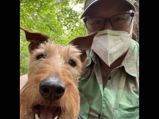 Me with our second 'rescued' Irish Terrier, Bella, on a hike at Lookout Mt., Bellingham, WA.